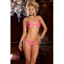 2 Piece Peek- A-Boo Bra and Crotchless Pink Small/Medium
