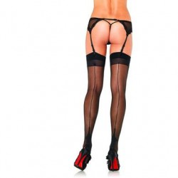 Contrast Backseam Stockings - Black - One Size