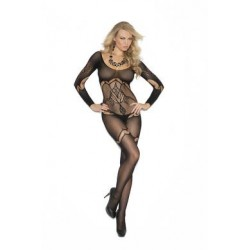 Floral Crochet Bodystocking - Black - One Size