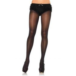 Opaque Tights with Cotton Crotch - One Size - Black