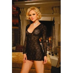 Black Sparkle Swirl Deep V Mini Dress
