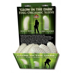 Glow-In-The-Dark Fing-Orgasmic Sleeve - Assorted Styles - 24 Pieces Display