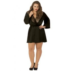 Satin & Eyelash Robe - Queen Size - Black