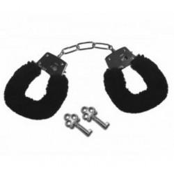 Sex and Mischief Furry Handcuffs - Black