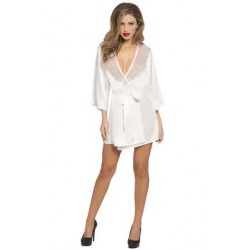 Satin & Eyelash Robe - One Size - White