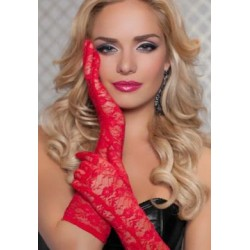 Lace Elbow Gloves - Red