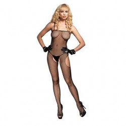 Fishnet Suspender Bodystocking - Black - One Size