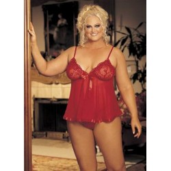 Sequin Embroidery and Sheer Net Babydoll - Red - Queen Size