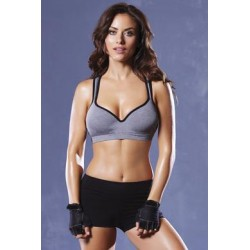 Strike Lace Back Sports Bra - Heather Grey/black - Small