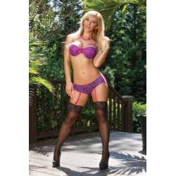 Sheer Passion Bra & Gartered Panty Set - Extra Large