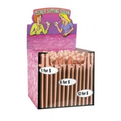 Pecker Sipping Straws - Display of 144