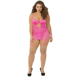 Galloon Lace & Fishnet Chemise with Thong - Queen Size - Pink