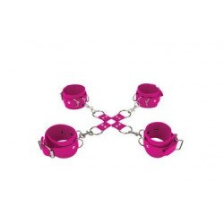 Leather Hand and Legcuffs - Pink