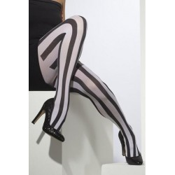 Striped Opaque Tights - Black And White