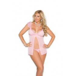Mesh & Satin Babydoll - Pink - Queen Size 2x