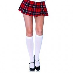 Nylon Opaque Knee Highs - White - One Size