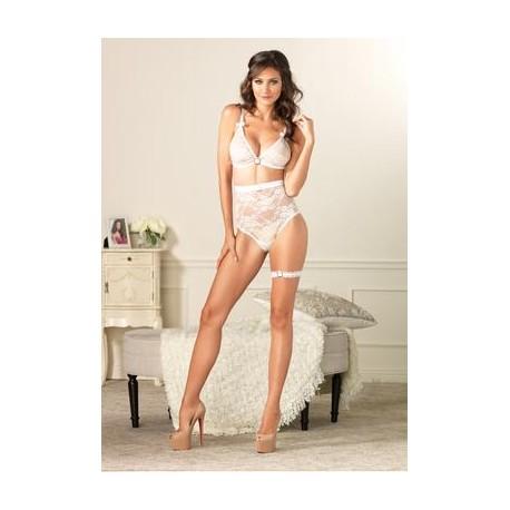 Lace Bra, High Waist Panty and Garter - White - Medium