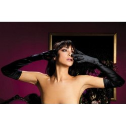 Satin Opera Gloves - Black
