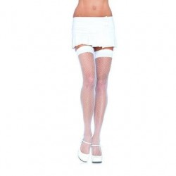 Fishnet Thigh Highs - White - One Size